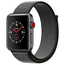 Buy Apple Watch Series 3, GPS and Cellular, 42mm Space Grey Aluminium Case with Sport Loop, Dark Olive Online at johnlewis.com
