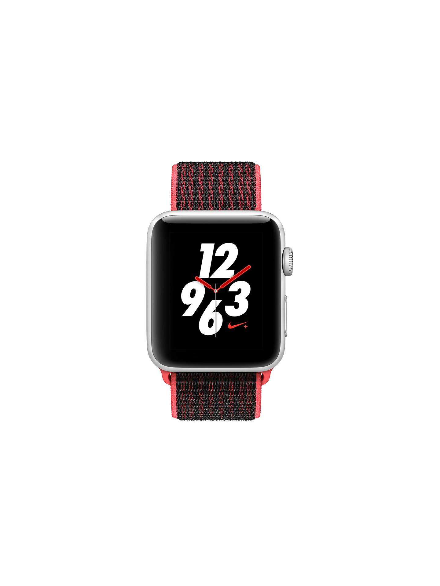 En honor prima Negociar  Apple Watch Nike+ Series 3, GPS and Cellular, 42mm Silver Aluminium Case  with Nike Sport Loop, Bright Crimson / Black at John Lewis & Partners