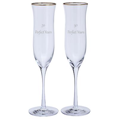 Dartington Crystal Personalised Celebration Champagne Flutes, Gabriola Font, 200ml, Set of 2