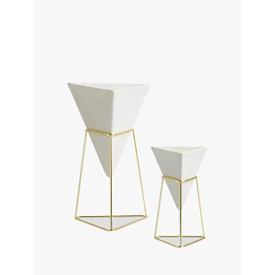 Umbra Trigg Freestanding Vase, White, Set of 2
