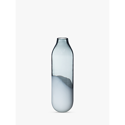 Croft Collection Dipped Glass Vase, White/Grey