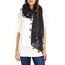 Buy Phase Eight Pom Pom Tassel Scarf, Navy/Grey Online at johnlewis.com
