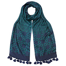 Buy East Mocarabe Patchwork Scarf, Aqua Online at johnlewis.com