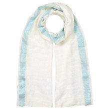 Buy East Slinky Border Scarf, White Online at johnlewis.com