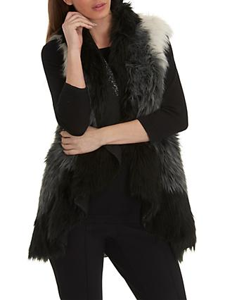 Betty Barclay Faux Fur Gilet, One Size, Cream/Black