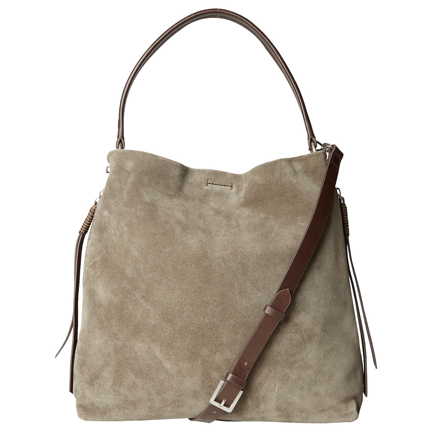 White Stuff Shea Nubuck Leather Hobo Bag Taupe Online At Johnlewis