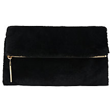 Buy Whistles Shearling Fold Over Clutch Bag, Black Online at johnlewis.com