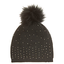 Buy Mint Velvet Studded Pom Pom Hat, Khaki Online at johnlewis.com