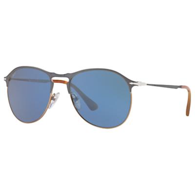 Persol PO7649S Aviator Sunglasses, Brown/Blue