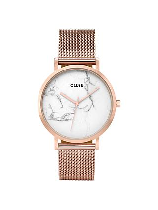CLUSE CL40007 Women's La Roche Mesh Bracelet Strap Watch, Rose Gold/Marble