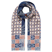 Buy Brora Bird Print Patchwork Stole, Ink/Carnation Online at johnlewis.com