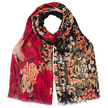 Buy East Rosa Wool Silk Floral Scarf, Scarlet/Multi Online at johnlewis.com