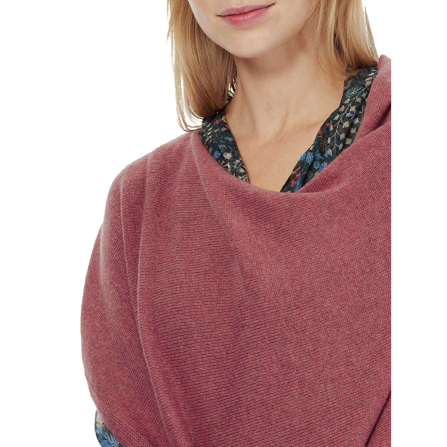 BuyBrora Cashmere Gauzy Knit Poncho, Rosewood Online at johnlewis.com