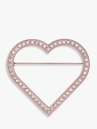 Ted Baker Swarovski Crystal Heart Brooch, Rose Gold