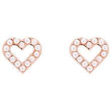 Buy Ted Baker Faux Pearl Heart Stud Earrings, Rose Gold Online at johnlewis.com
