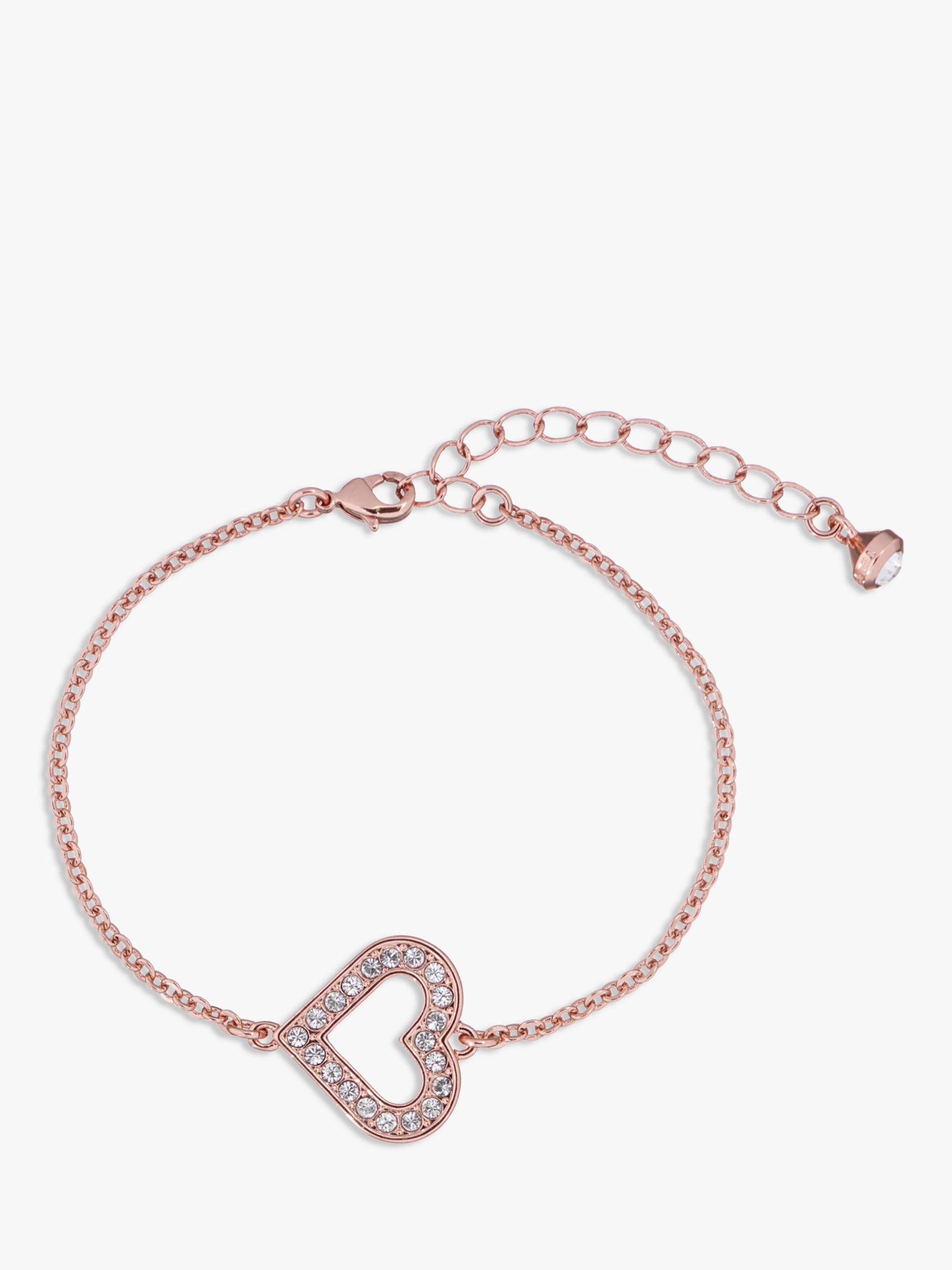 Ted Baker Swarovski Crystal Heart Bracelet, Rose Gold at John ...