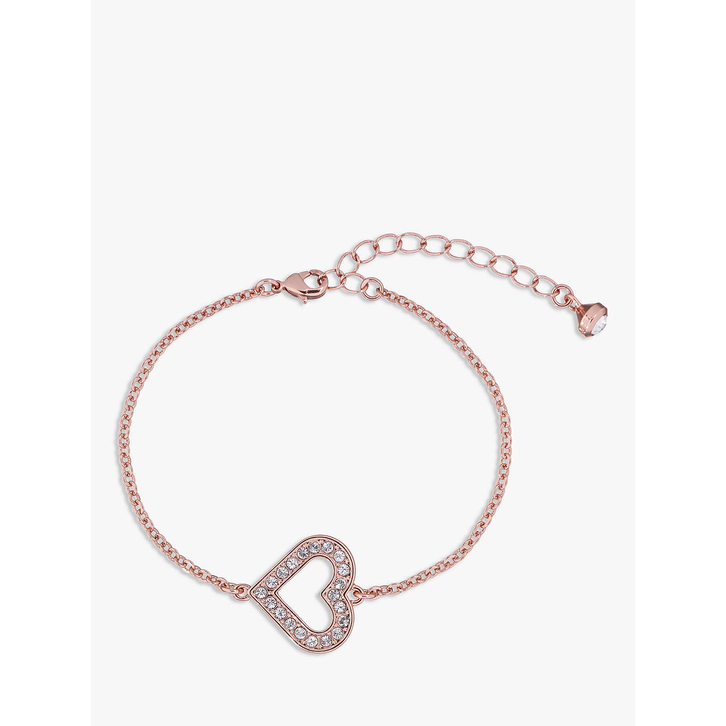 BuyTed Baker Swarovski Crystal Heart Bracelet, Rose Gold Online At  Johnlewis.com ...
