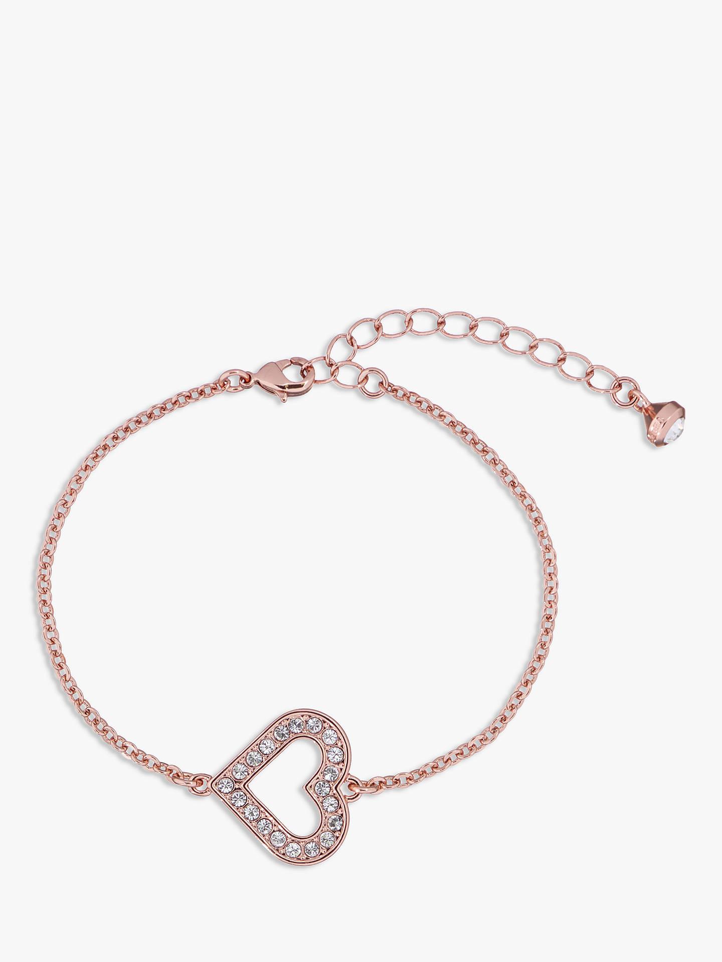 Ted Baker Swarovski Crystal Heart Bracelet Rose Gold Online At Johnlewis