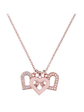 Ted Baker Swarovski Crystal Heart Cluster Pendant Necklace, Rose Gold