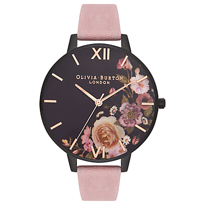 Olivia Burton OB16AD26 Women's After Dark Leather Strap Watch, Rose/Black