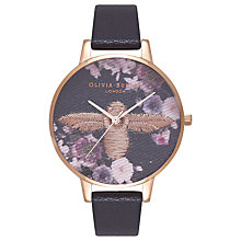 Buy Olivia Burton OB16EM02 Women's Embroidered Bee Leather Strap Watch, Black Online at johnlewis.com