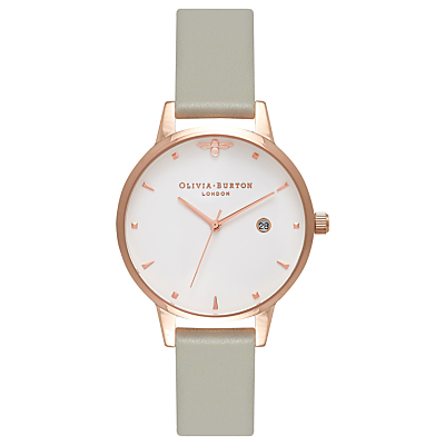Olivia Burton OB16AM126 Women's Queen Bee Date Leather Strap Watch, Grey/White