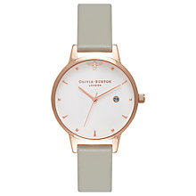 Buy Olivia Burton OB16AM126 Women's Queen Bee Date Leather Strap Watch, Grey/White Online at johnlewis.com