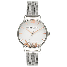Buy Olivia Burton OB16CH02 Women's Busy Bee Bracelet Strap Watch, Silver/White Online at johnlewis.com