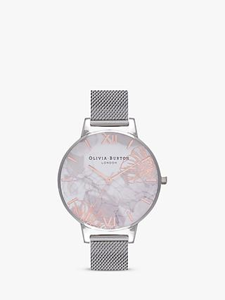 Olivia Burton OB16VM20 Women's Abstract Florals Bracelet Strap Watch, Silver/Multi