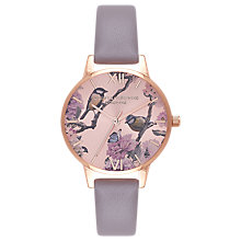 Buy Olivia Burton OB16PL36 Women's Pretty Blossom Leather Strap Watch, Grey/Rose Online at johnlewis.com