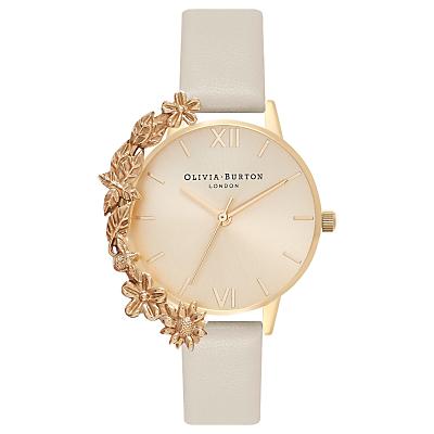 Olivia Burton OB16CB10 Women's Case Cuffs Leather Strap Watch, Nude/Gold