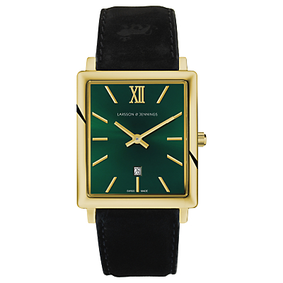 Larsson & Jennings NRS40-LBLK-CS-Q-P-GG Unisex Norse Date Leather Strap Watch, Black/Green