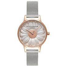 Buy Olivia Burton OB16FS94 Women's Flower Show 3D Daisy Bracelet Strap Watch, Silver/White Online at johnlewis.com