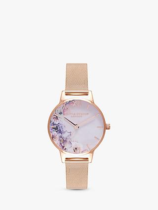 Olivia Burton OB16PP39 Women's Watercolour Florals Bracelet Strap Watch, Rose Gold/Multi