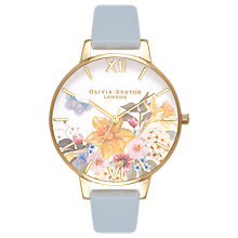 Buy Olivia Burton OB16FS96 Women's Enchanted Garden Leather Strap Watch, Chalk Blue/White Online at johnlewis.com