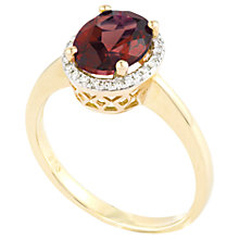 Buy A B Davis 9ct Gold Oval Diamond Garnet Ring Online at johnlewis.com