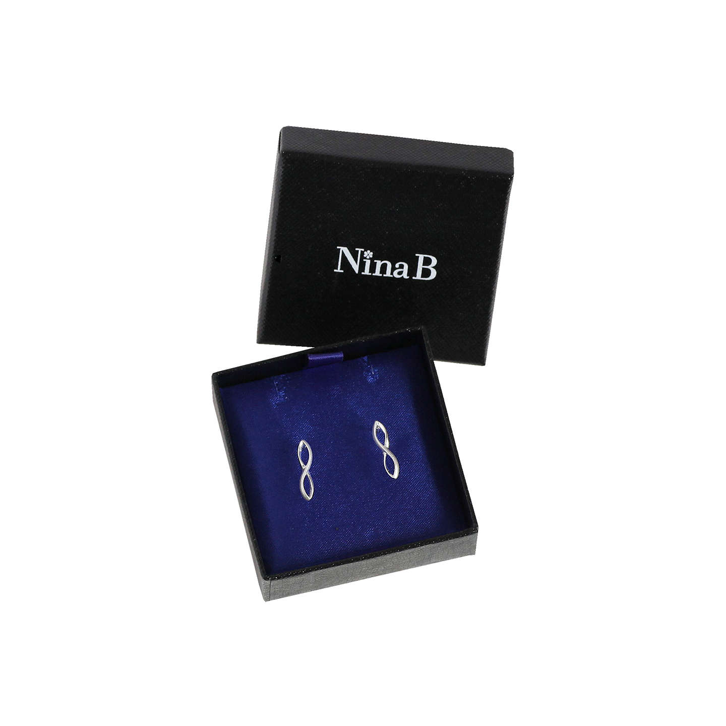 BuyNina B Sterling Silver Figure 8 Drop Earrings, Silver Online at johnlewis.com