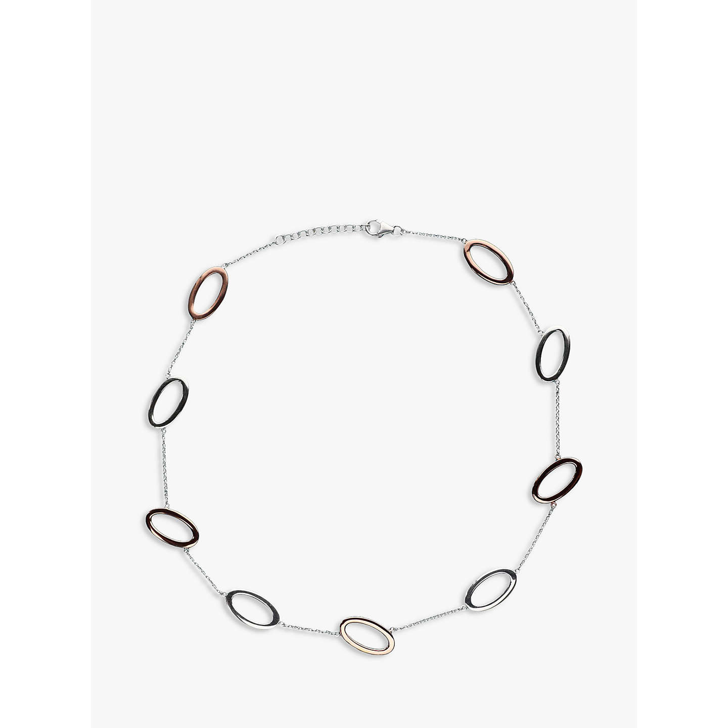 BuyNina B Open Oval Link Necklace, Silver/Red Online at johnlewis.com