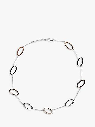 Nina B Open Oval Link Necklace, Silver/Red