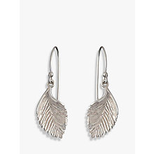 Buy Nina B Leaf Hook Drop Earrings, Silver Online at johnlewis.com