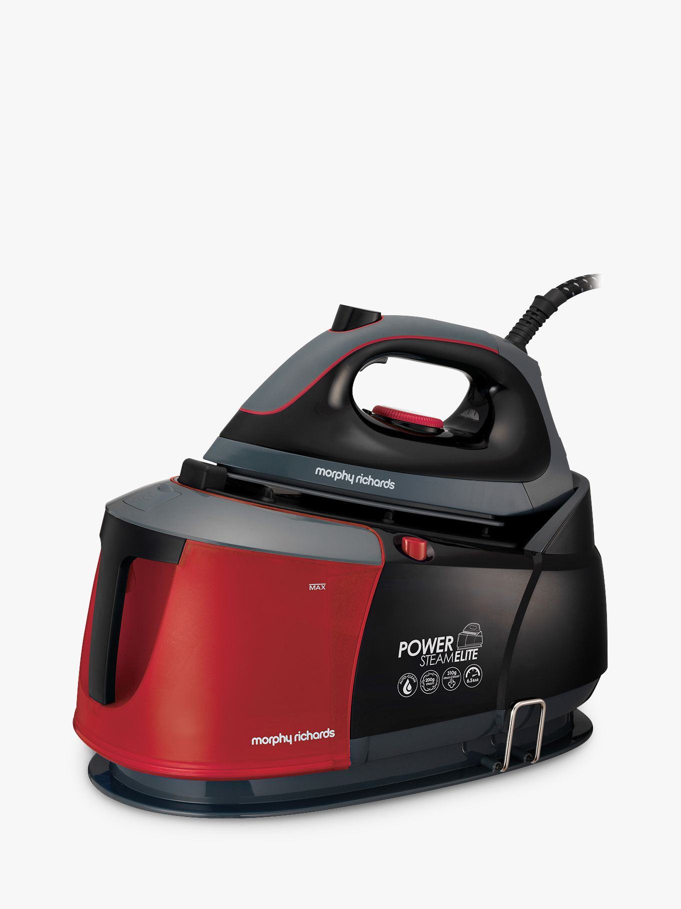 Morphy Richards Morphy Richards Auto-Clean Power Steam Elite Steam Generator Iron, Black/Red