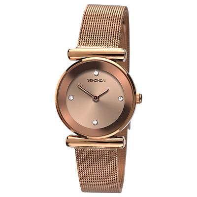 Sekonda 2301.27 Women's Mesh Bracelet Strap Watch, Rose Gold