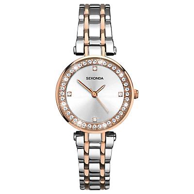 Sekonda 2541.27 Women's Crystal Two-Tone Bracelet Strap Watch, Silver/Rose Gold