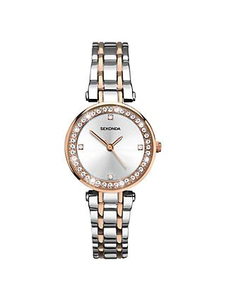 Sekonda 2541.27 Women's Crystal Two-Tone Bracelet Strap Watch, Silver/Rose Gold