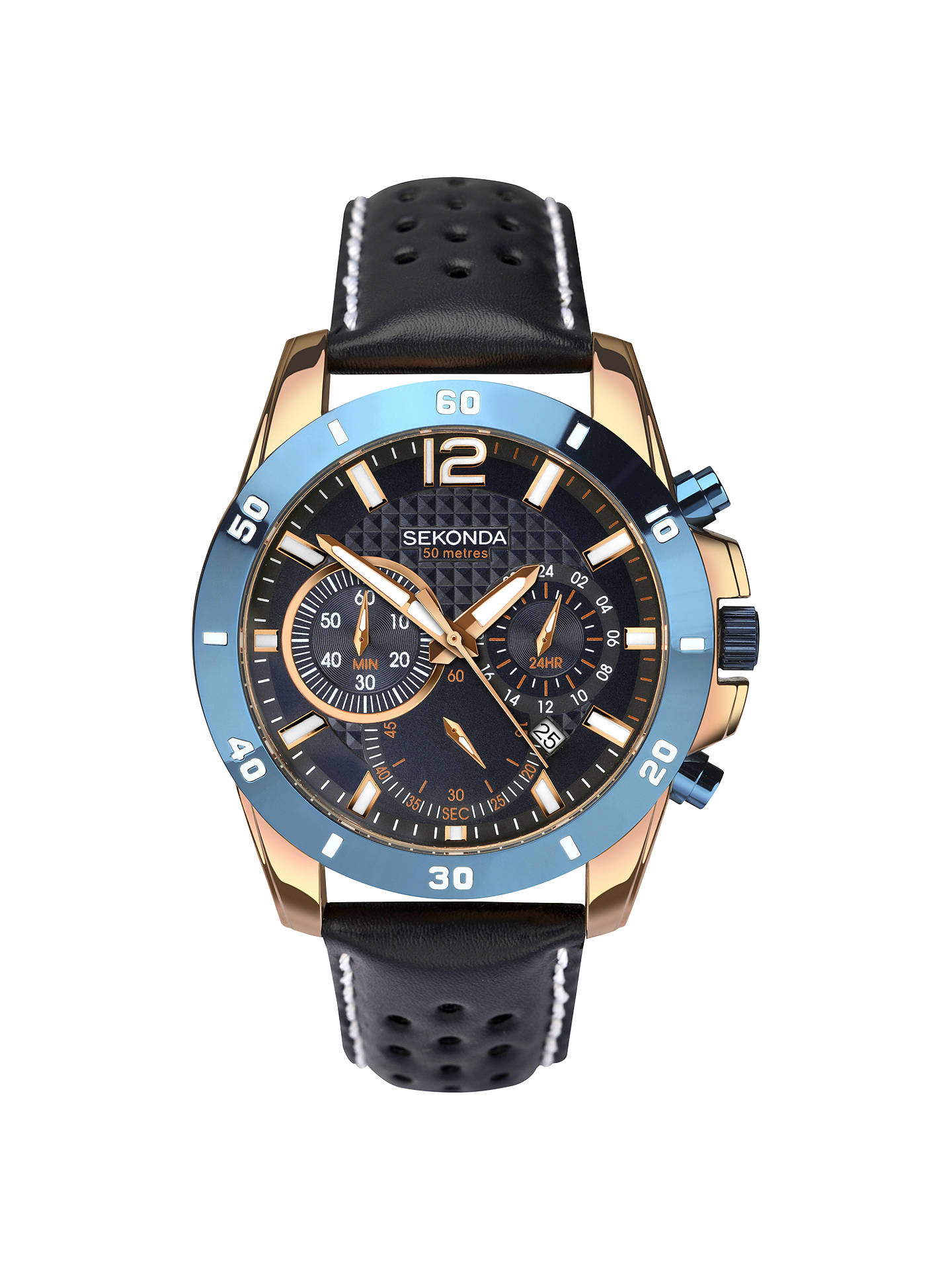 BuySekonda 1489.27 Men's Chronograph Date Leather Strap Watch, Navy Online at johnlewis.com