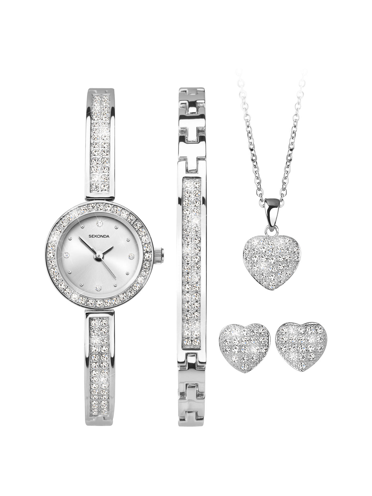 BuySekonda 2528G.76 Women's Crystal Bracelet Strap Watch, Bangle, Necklace and Stud Earrings Gift Set, Silver Online at johnlewis.com