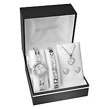 Buy Sekonda 2528G.76 Women's Crystal Bracelet Strap Watch, Bangle, Necklace and Stud Earrings Gift Set, Silver Online at johnlewis.com