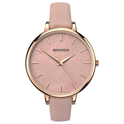 Sekonda 2563.27 Women's Leather Strap Watch, Rose