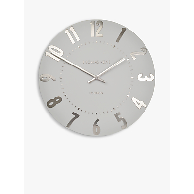 Thomas Kent Mulberry Wall Clock, Dia.30cm, Silver Cloud