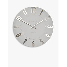 Buy Thomas Kent Mulberry Wall Clock, Dia.30cm, Silver Cloud Online at johnlewis.com